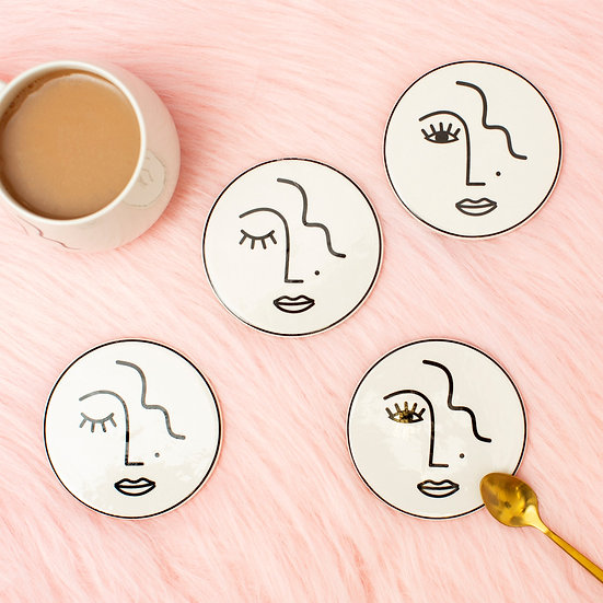 Abstract Lady Coaster Set