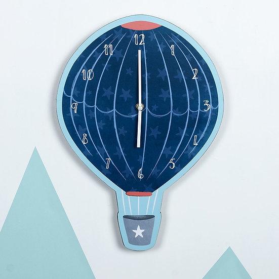 Hot Air Balloon Blue Wall Clock