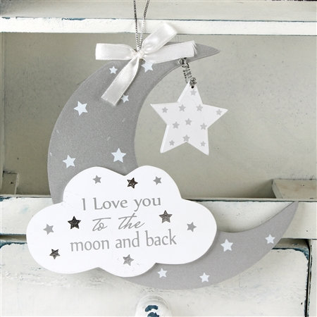 Moon & Stars Hanging Wall Plaque