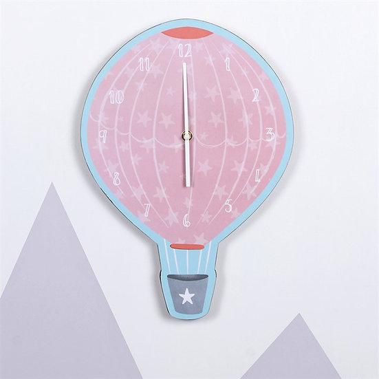 Hot Air Balloon Pink Wall Clock