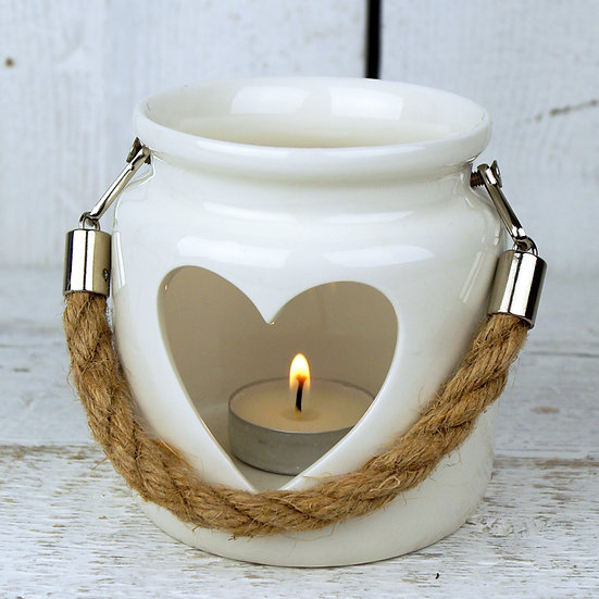 Porcelain Heart Large Tealight Lantern