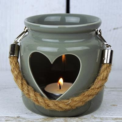 Porcelain Grey Heart Tealight Lantern