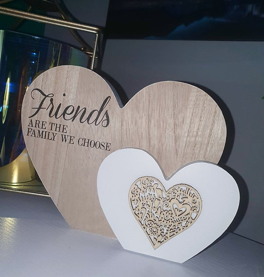 Friends are Family Double Heart Plaque