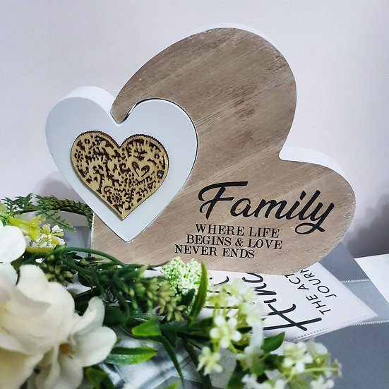 Family Double Heart Plaque