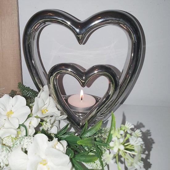 Twin Hearts Tealight Holder