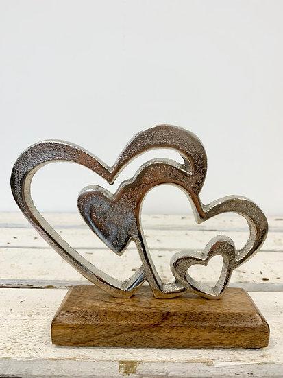 Double Heart Wooden Block