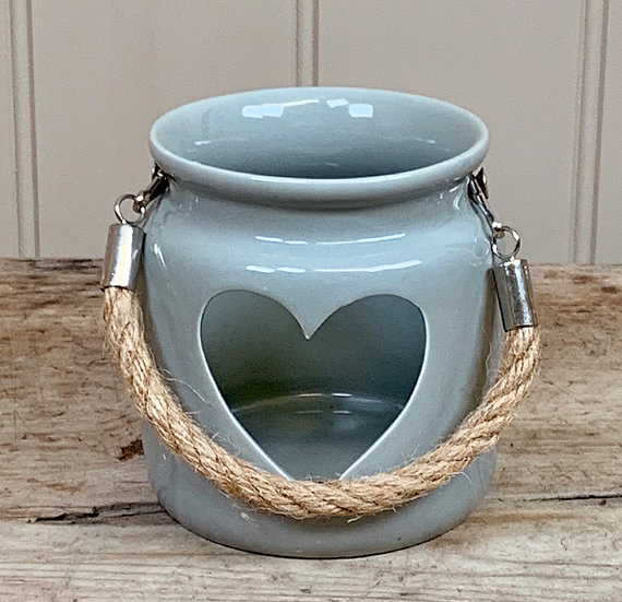 Grey Heart Tealight Lantern 10cm