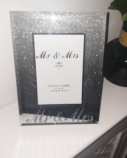 Mr & Mrs Silver Glitter Photo Frame 4x6