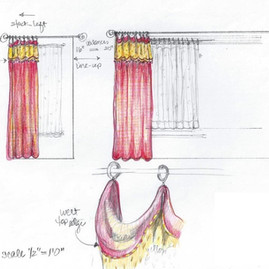 Happy Healthy Homes colored detail drawing of drapery design