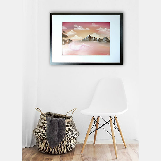 Limerance Pink Mountain Landscape Oil Painting In Situ