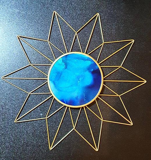 Blue Ink Gold Sunburst Wall Art