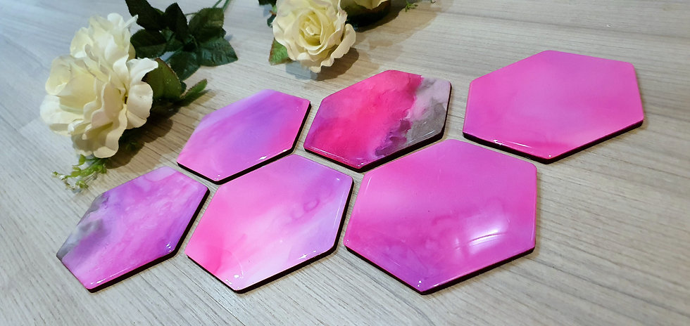 6 x Purple & Pink Imperfect Hexagonal Coasters