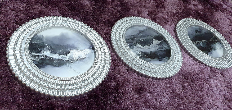 Black & Silver Round Circular Framed Ink Paintings