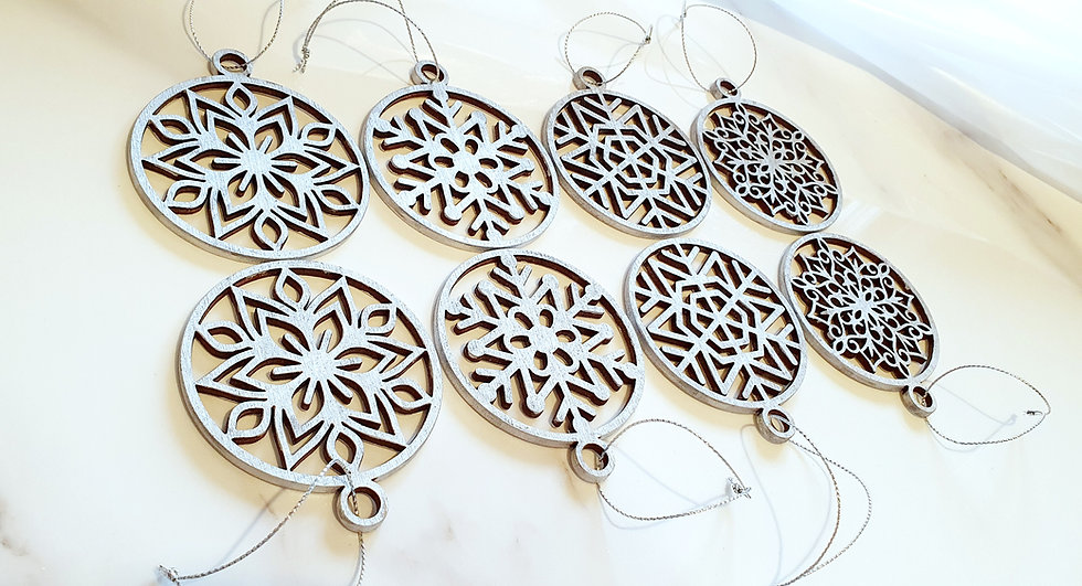 Set of 8 Silver Snowflake Christmas Decorations