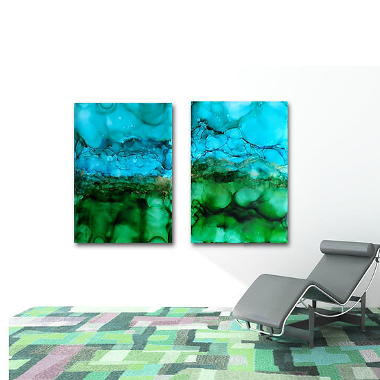 2 x Blue & Green Large Ink Paintings