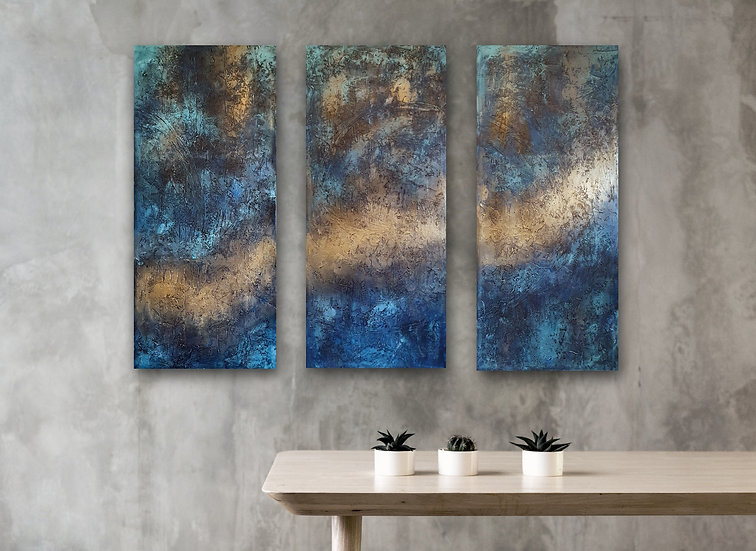 """Indigo"" Textured Abstract Acrylic Painting"