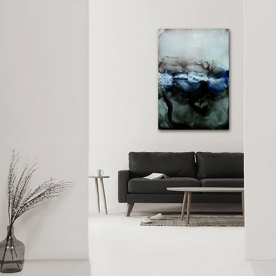 Black, Silver and Blue Abstract Ink Painting