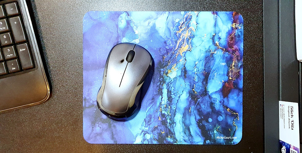 Blue Ink Mouse Mat