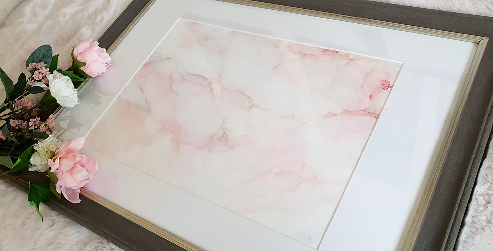 Pink A3 Marble Ink Painting