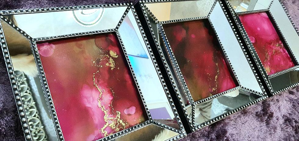Deep Pink Ink Paintings in Distressed Mirror Frames