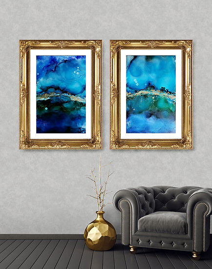 2 x Blue, Green & Gold Large Abstract Ink Painting