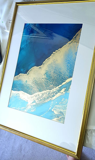 Blue & Gold Alcohol Ink A4 Painting