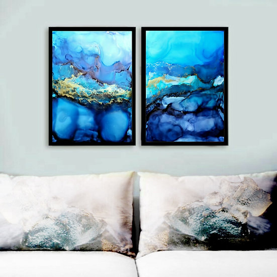 2 x Blue and Gold Abstract Ink Paintings