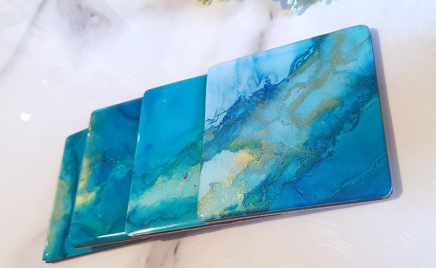 Blue & Gold Square Coasters