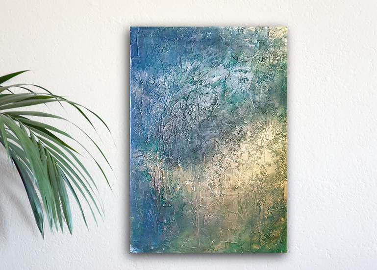 Lovat green & gold abstract acrylic painting