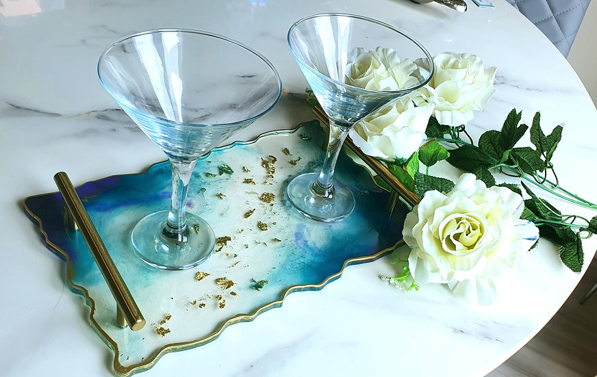 Blue & Gold Serving Tray