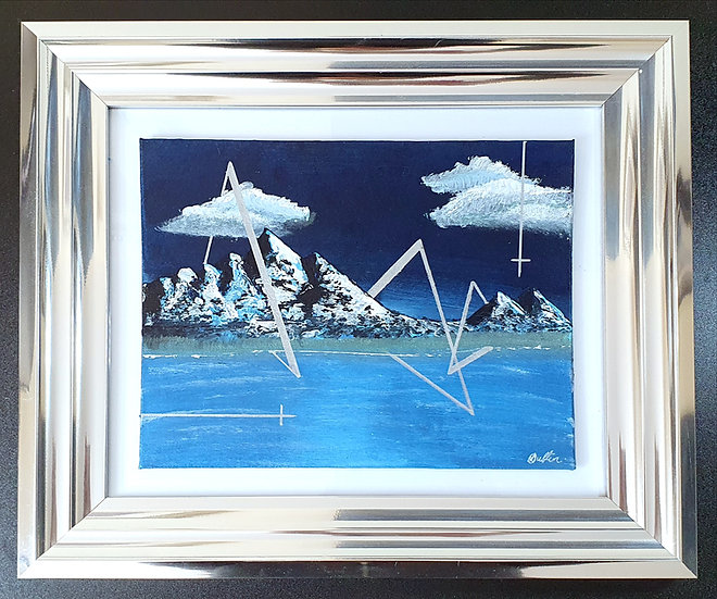 Triangulation - Abstract Acrylic Painting in Frame