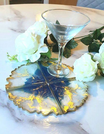 Blue & Gold Abstract Petal Coasters