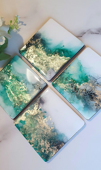 Green & Gold Square Coasters