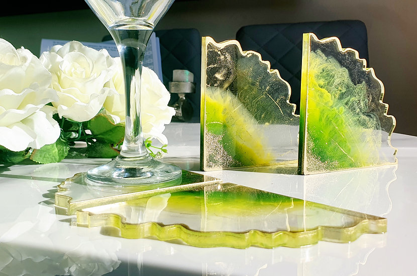 Green & Gold Glitter Irregular Petal Coasters - Set of 4