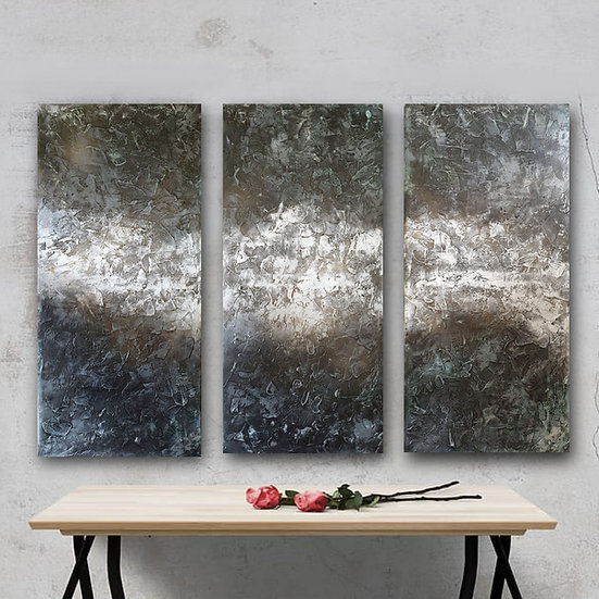 Meteorite silver triptych painting