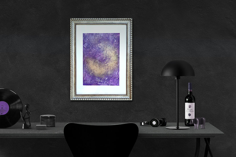 """Violet Eye"" A3 Textured Acrylic Abstract Painting"