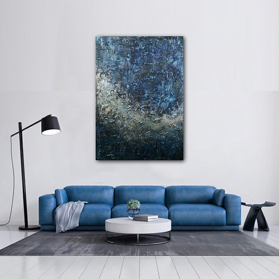 Blue & Gold Abstract Acrylic Textured Painting Canvas
