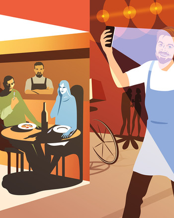 Cover illustration for the «Simple Wine magazine» based on a burning topic of restaurant market during CoviD