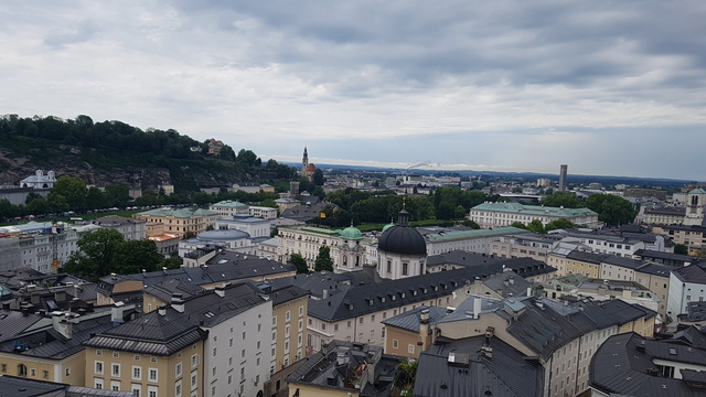 A Kapuzinerberg tetejéről rálátás a Dreifahigkeit termplomra
