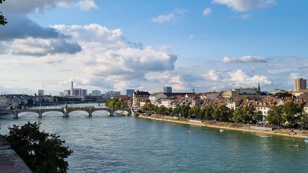 Látkép az új városrészre, Bázelben