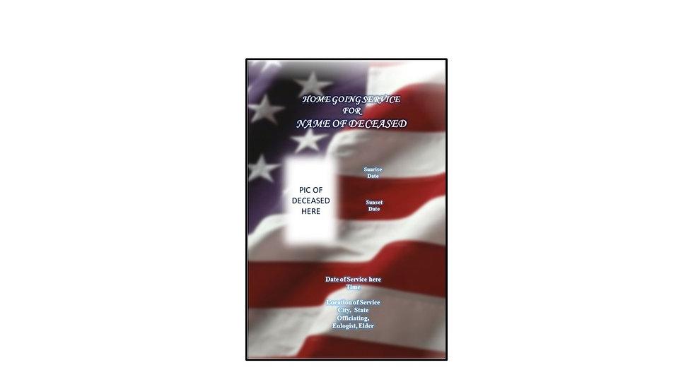 Funeral Program Military Flag