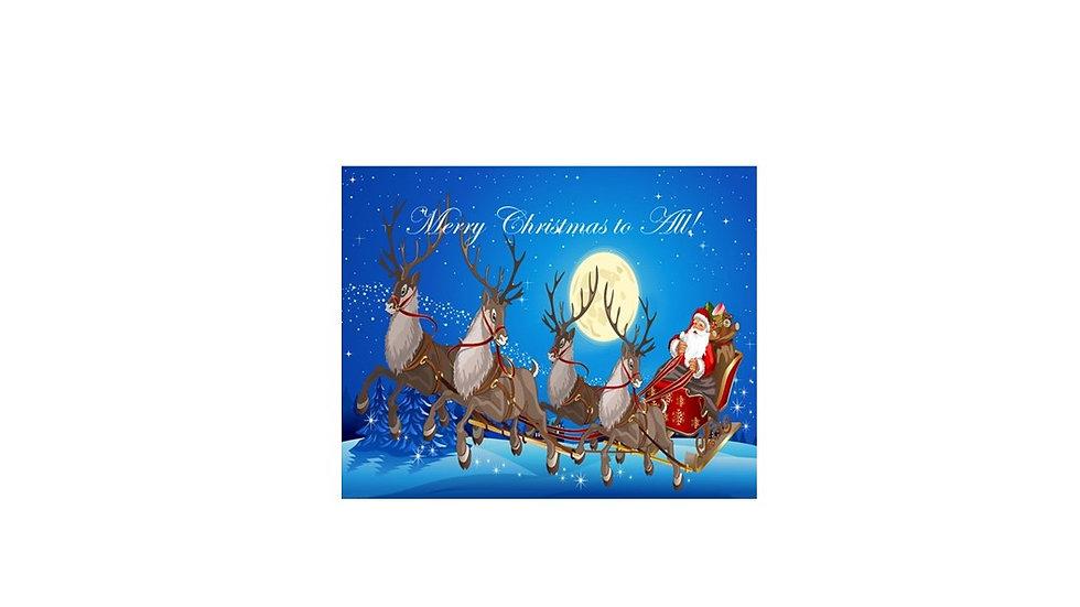Santa & Reindeer Christmas Card