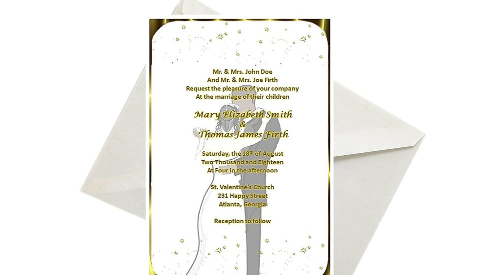 Wedding Invitation Africa American Gold