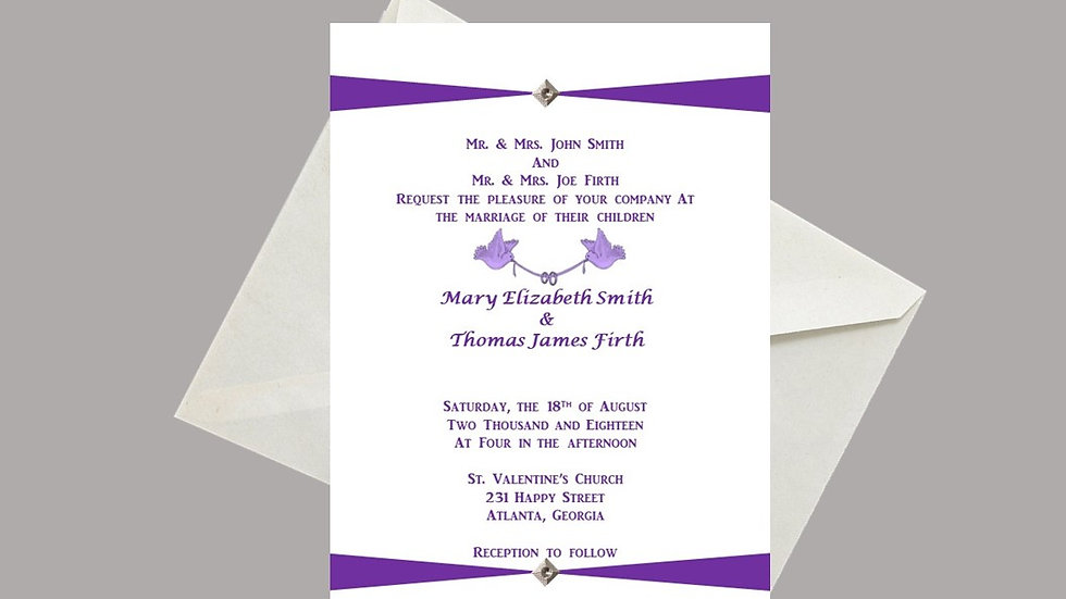 Wedding Invitation Purple