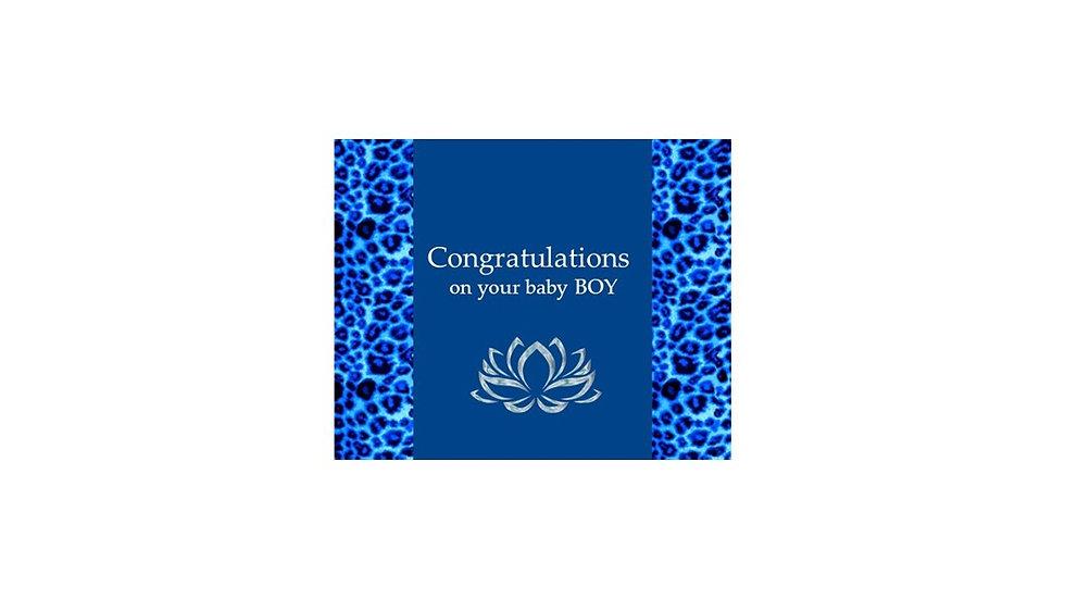 Congrats Baby Boy Blue Leopard