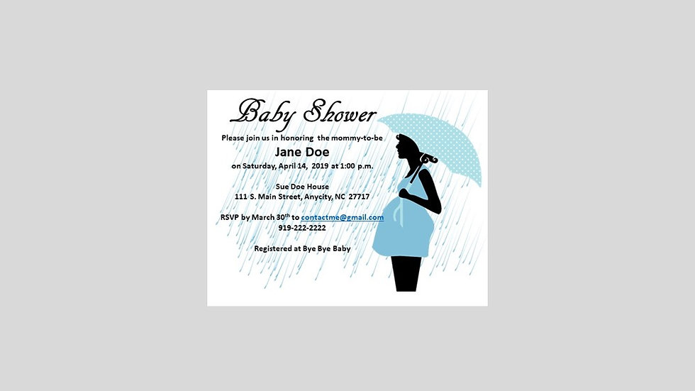 Baby Shower Invitation Blue Umbrella