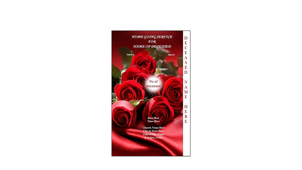 Funeral Program Red Roses