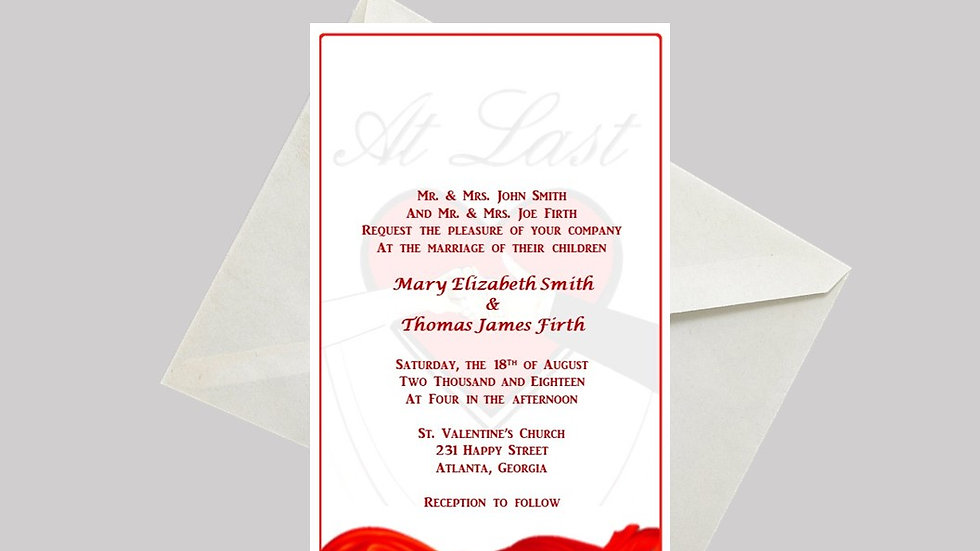 "Wedding Invitation ""At Last"""