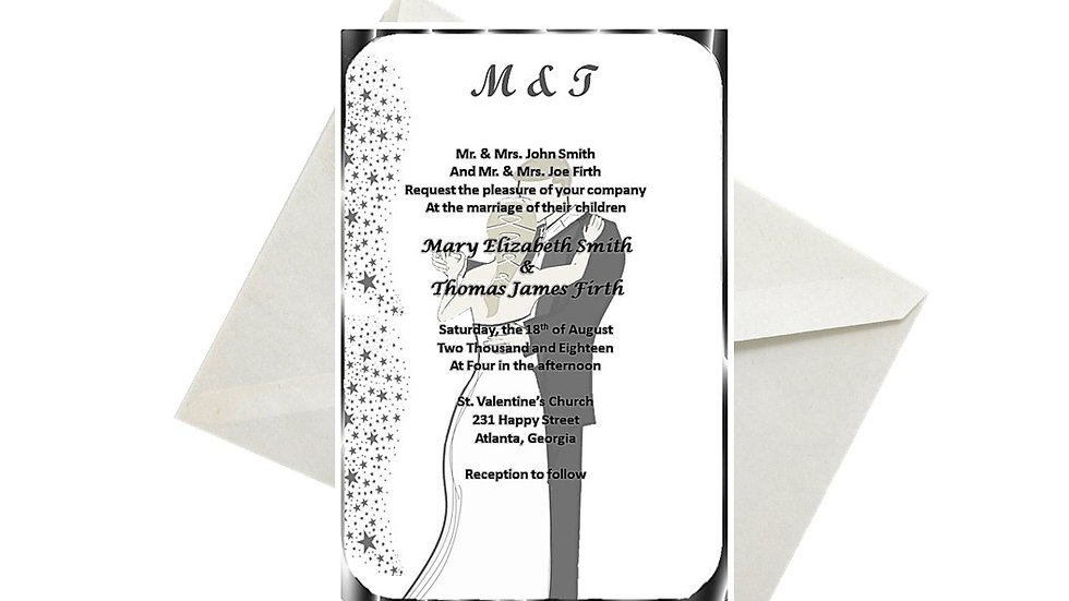 Wedding Invitation Caucasian Silver