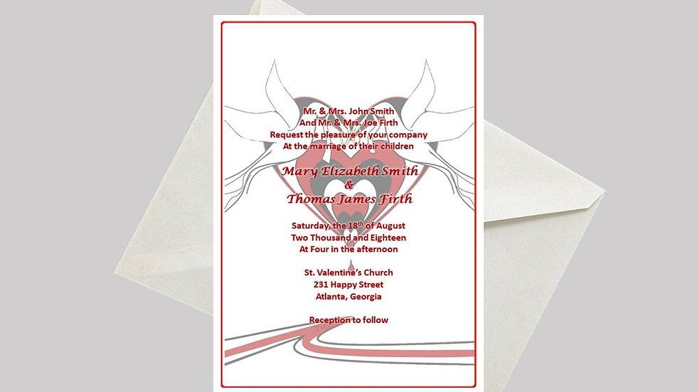 Wedding Invitation Dripping Heart Doves